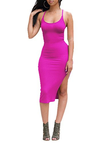 Women's Solid Sleeveless Dress Hot Pink Side Slit Bodycon Ninimour dHwfqC5d