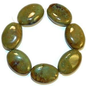 (Steven_store CPC326 Brown & Green Multi-Tone Large 32mm Flat Puffed Oval Porcelain Beads 8