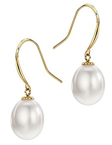(18K Gold Freshwater Cultured Pearl Drop Dangle Earrings Fishhook 8-9mm Pearl Jewelry for Women)