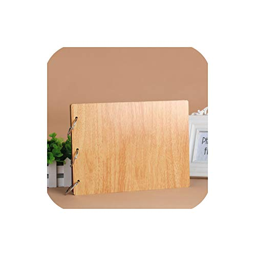 (10-inch Mahogany DIY Photo Album Creative Iron Ring Loose-Leaf Picture Album Baby Book Memories Friend Gift,Pink)
