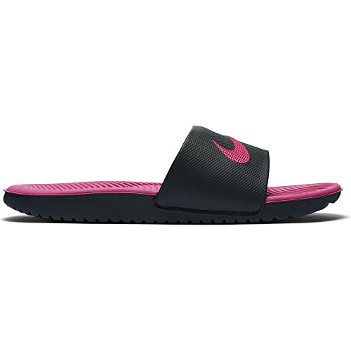 NIKE Girls Kawa Slide (GS/PS), Black/Vivid Pink, 13C