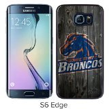 NCAA Mountain West Conference MWC Football Boise State Broncos Black Samsung Galaxy S6 Edge Screen Cover Case Luxurious and Fashion Design