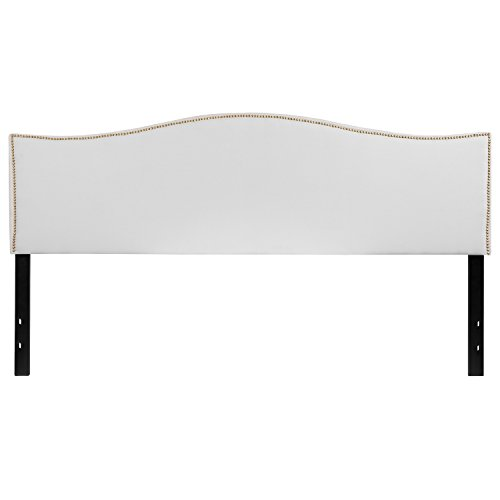 Flash Furniture Lexington Upholstered King Size Headboard with Decorative Nail Trim in White Fabric (Brass Nailhead Trim)