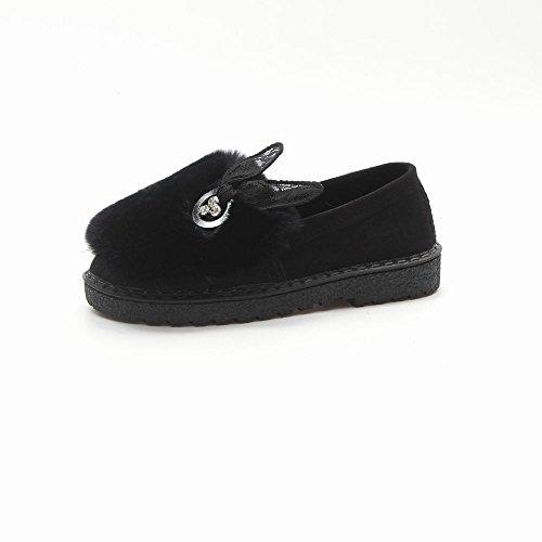 E Planos Otoño Bowknot Zapatos Negro Ante Del el la Cachemira Zapatos Suaves DXD Goma de Más Del Maduro Invierno Los de gf0wAx