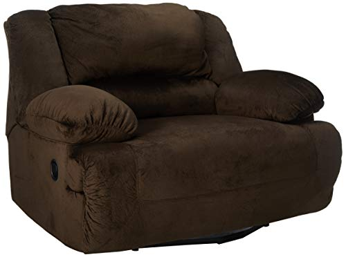 Ashley Furniture Signature Design – Toletta Oversized Recliner – Pull Tab Manual Reclining – Contemporary – Chocolate