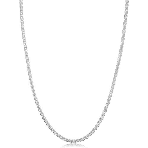 Platinum Wheat Solid Chain - Kooljewelry Sterling Silver Round Wheat Chain Necklace (2.6 mm, 26 inch)