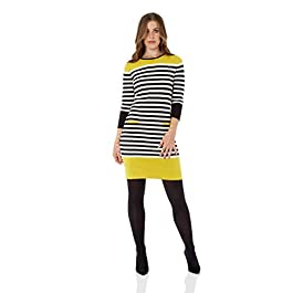 Roman Originals Women Stripe Jumper Sweater Dress – Ladies Knit Everyday Work Casual Smart Tunic 3/4 Sleeve Knee Length Knitted Pocket Tunics Woollen