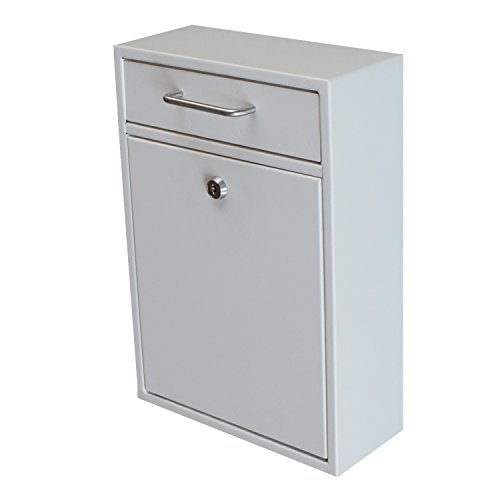 Mail Boss 7410 High Security Steel Locking Wall Mounted Mailbox - Office Drop Box - Comment Box - Letter Box - Deposit Box, White