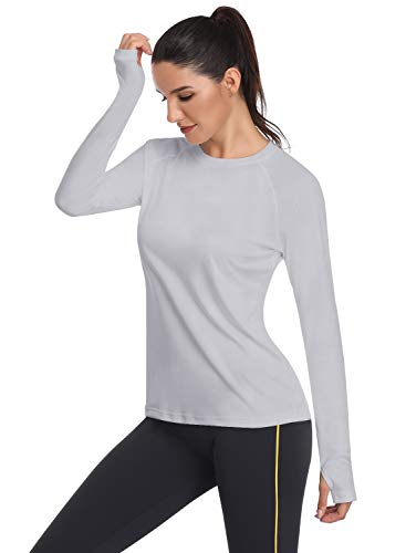 HISKYWIN Women's UPF 50+ Sun Protection Long Sleeve Outdoor T-Shirt Athletic Top Rashguards Light Gray-XL