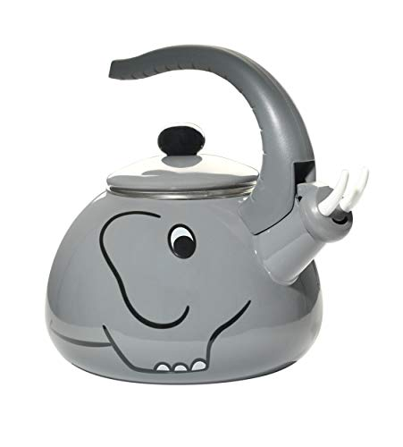 HOME-X Gray Elephant Whistling Tea Kettle, Animal Teapot, Kitchen Accessories and D cor