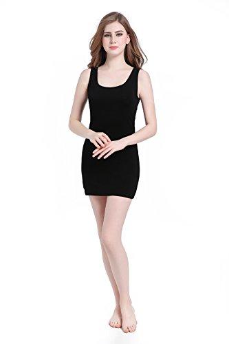 CnlanRow Women Scoop Neck Long Dress Tank Top Undershirts - Ultra Thin Comfort Stretch (Rib Tank Long)