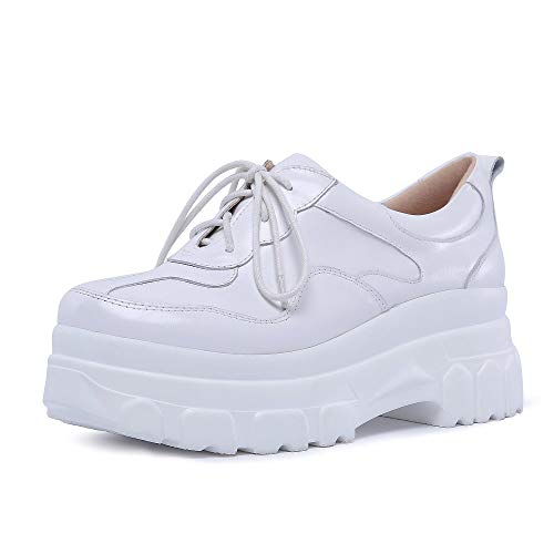 Mid Heel Women's Dress Seven Genuine Walking Comfortable Pumps Closed Leather Round Toe Shoes Nine White Graceful Handmade TzvBAwqA