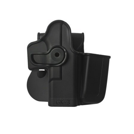 - Glock 17 / Glock 22 / Glock 31 / Glock 19 / Glock 23 / Glock 32 / Glock 36 Polymer Retention Roto Holster with Integrated Magazine Pouch