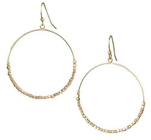 Zen Styles Large Sparkling Beaded Dangle Hoop Earrings, Open Circle Or Teardrop, 2 Length x