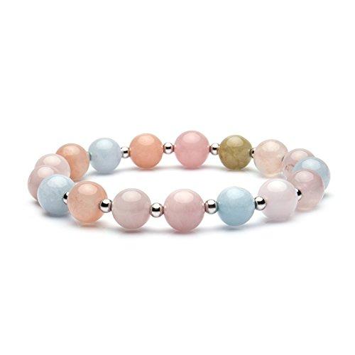 Bivei Natural Amazonite Bamboo Leaf Agate Gem Semi Precious Gemstone Round Beads Healing Crystal Stretch Bracelet (Morganite Beryl Aquamarine w/Spacer Beads)
