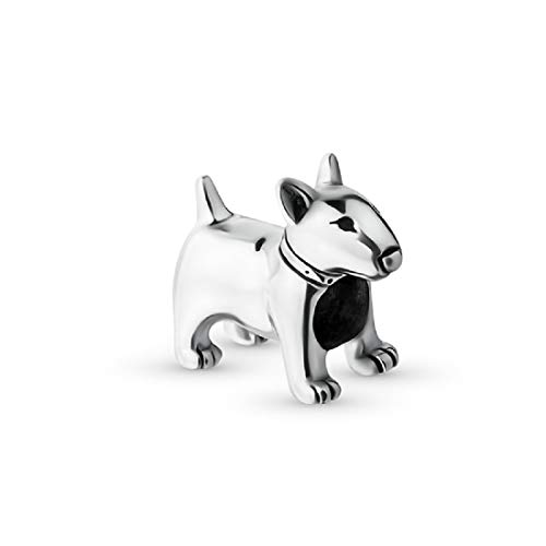 EVESCITY 925 Real Silver Gold Beads for Charm Bracelets ♥ Best Jewelry Gifts for Her Women ♥ (Pitbull Bull Terrier Dog) (Pandora Terrier Charm)