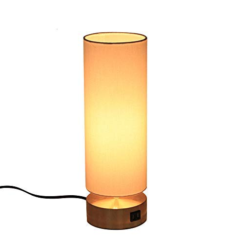 KIRIN Touch Control Desk Light with Outlet and USB Port 3-Way Dimmable Bedside Table Lamp Fabric Shade Nightstand Lamp Solid Gold Base for Bedroom, Living Room, Office, Bookcase