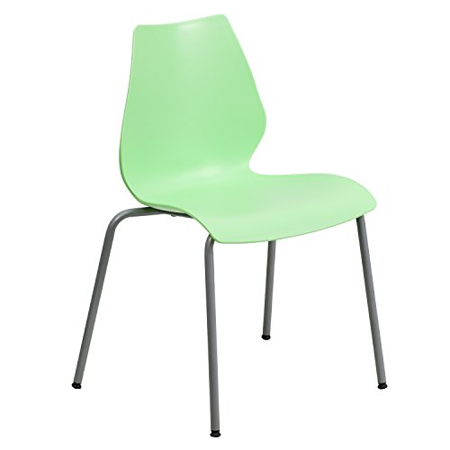 Flash Furniture HERCULES Series 770 lb. Capacity Green Stack Chair with Lumbar Support and Silver -