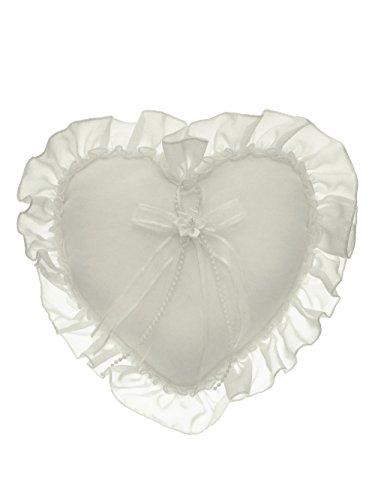 Chiffon Crystal Faux Pearl Fringe Ribbon Heart Shape Wedding Ring Pillow Ivory