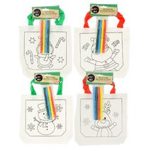 Kids Do It Yourself Christmas Tote Bag Kits ~ Includes 1 Christmas Themed Tote Bags and 4 Markers (Penguin)