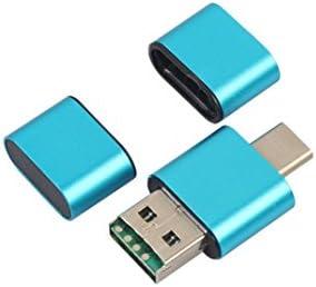 zolimx OTG Tipo C Adaptador de Lector de Tarjeta Micro SD TF USB 2.0 para teléfono Android (Azul)