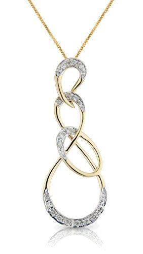 """Or 9ct et Diamant améliorée styalised Chaîne et Pendentif Style Art Nouveau-16""""/40cm -- 45,7cm/45cm--20""""/50mm"""