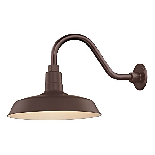 (Bronze Farmhouse Style Industrial Gooseneck Outdoor Barn Light with 14