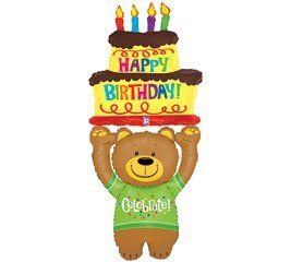 Betallic Teddy Bear Cake Shaped 60 Birthday Party Mylar Foil Balloon Celebrate