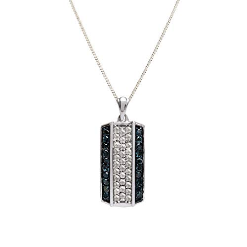 Jewelspaark 925 Sterling Silver 0.75 TCW Natural Diamond Rectangle Pendant 25mm Length