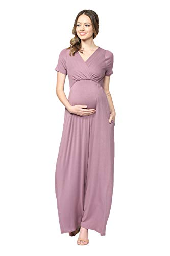 LaClef Women's Maternity Maxi Wrap Dress with Side Pocket (Mauve, L)
