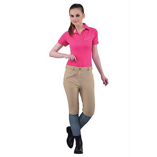 TuffRider Women's Ribb Knee Patch Breeches (Regular), Chocolate, 24
