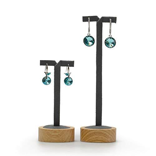 Oirlv Wood 2 Pcs Earring Display Stand T-Shape Showcase Tradeshow Earring Holder(Grey)
