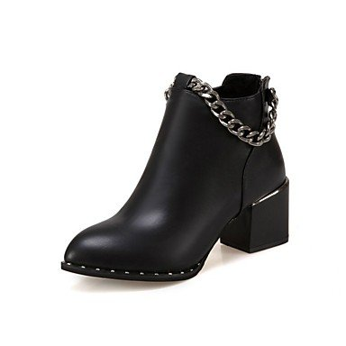 RTRY Informal Negro Bota De Oficina De US6 Pelusas EU36 Botas Zapatos Otoño Botines Botas Mujer Carrera Puntera Para Pu Invierno CN36 Redonda Revestimiento De Moda amp;Amp; UK4 Botines Marrón rrwxR
