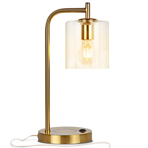 Brightech - Elizabeth LED Desk Lamp with Wireless Charging Pad and USB Port - Midcentury Industrial Table Light for Living Room, Office, Bedroom - Hanging Glass Shade - LED Bulb - Brass Gold Color