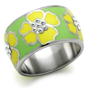 (Eternal Sparkles Stainless Steel Yellow Hawaiian Floral Epoxy Ring)