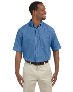Harriton Men's 6.5 oz. Short-Sleeve Denim Shirt 2XL Light - Short Denim Cotton Shirt Sleeve
