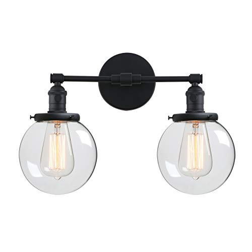 - Phansthy Industrial Wall Lamp Black Double Wall Sconce Light with 5.9 Inches Globe Lamp Shade(Black)
