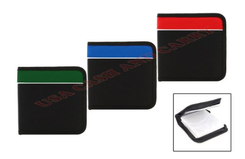 48 Capacity Disc Nylon CD DVD Album Wallet Holder Case Bag Square Zipper ()