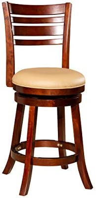 DTY Indoor Living Granby 4-Slat Back Bonded Leather Swivel Stool, 24 Counter Stool, Cherry Finish, Bone Leather Seat