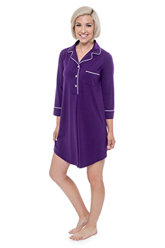Women's Nightshirt in Bamboo Viscose (Zenrest, Acai, Large) Best Sleepwear for Her WB0475-ACI-L