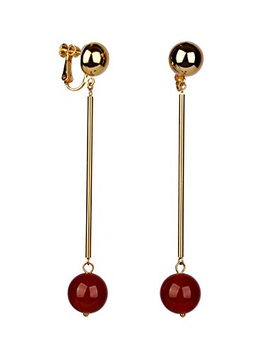 (DooRemi 18K Gold Plated Red Agate Bling Dangle Earrings for Women Wedding Bridal or Bridesmaids)