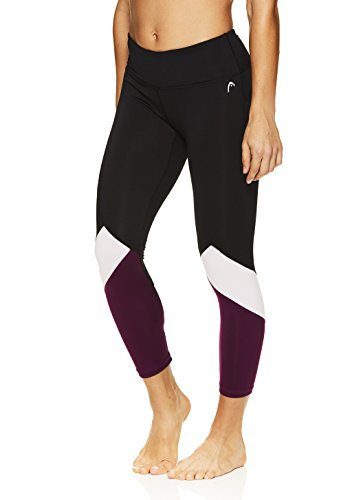 HEAD Women's Rejuvenated Pop Crop Capri Leggings - Performance Activewear Yoga & Running Pants - Black/Dark Purple, Small