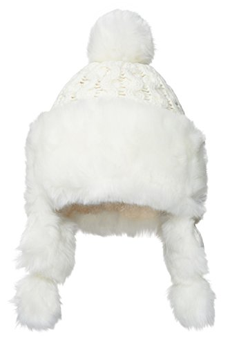 Nothing But Love Women Earflap Winter Hat With Faux Fur Trim Pom Pom Cable Knit Trapper Ushanka Cap (White) (Faux Fur Trapper)