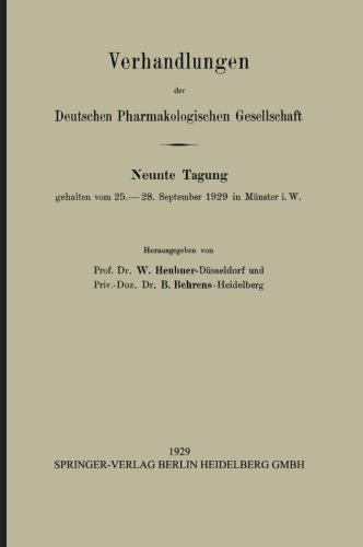 Verhandlungen der Deutschen Pharmakologischen Gesellschaft (German Edition)
