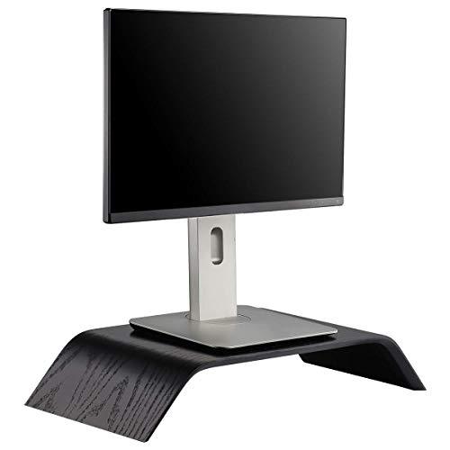 Halnziye Wooden Computer Monitor Stand, Durable Desk Riser Laptop Desktop Stands for MacBook, Universal Office PC Notebook Stand Holder/Household Flower Pot Rack (Oak Black)
