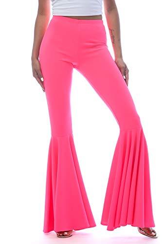 Women's J2 Love Mermaid Ruffle Flare Pants, Small, Neon Pink ()