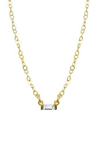 Baguette Necklace 18k with white Swarovski - Kylie Blog Kendall Style Jenner And