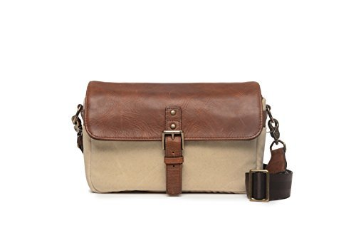 ONA - The Bowery - Camera Messenger Bag - 50/50 Natural Waxed Canvas & Antique Cognac Leather (ONA5-014NTL) by Ona