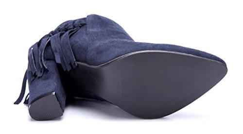 Blockabsatz Stiefel 9 Boots Schuhtempel24 Blau cm Klassische Schuhe Stiefeletten Damen g0qIY