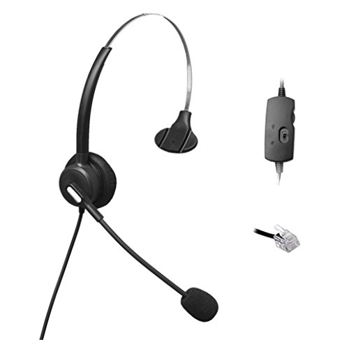 Comdio H103VAA Corded RJ Headset with Flexible Noise Canceling Mic + Volume Mute Control for Aastra Nortel Nec Mitel ShoreTel Toshiba Siemens GE InterTel Sprint Talkswitch Office Telephone IP Phones by Comdio